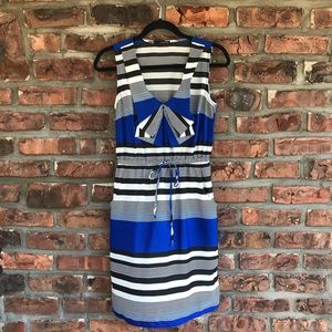 Maurices Sleeveless Striped V-Neck Blue Dress